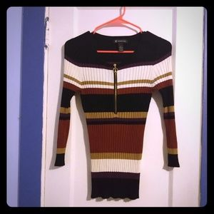 INC. striped long sleeve zip front sweater